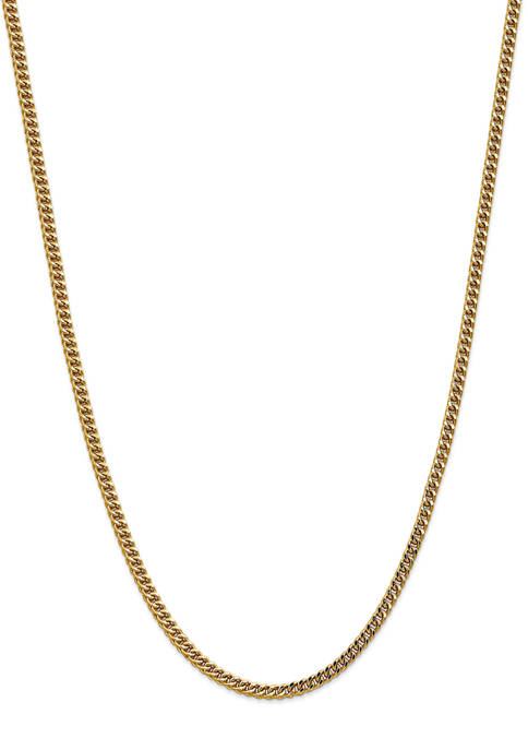 Mens 14K Yellow Gold 3.7 Millimeter Semi Solid Franco Chain Necklace