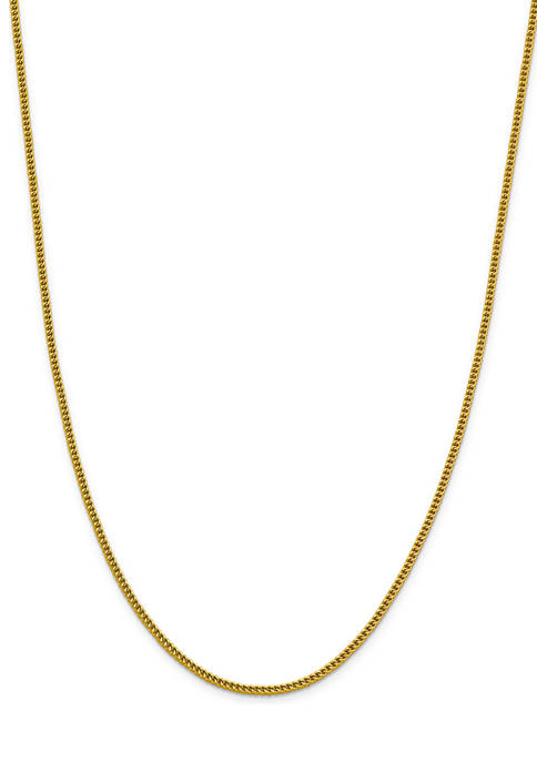 Mens 14K Yellow Gold 2.2 Millimeter Semi Solid Franco Chain Necklace