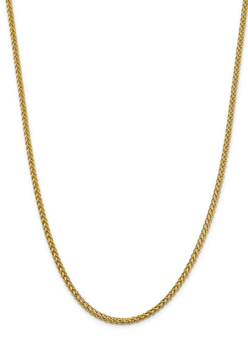 Mens 14K Yellow Gold 4.30 mm Semi Solid 3-Wire Wheat Chain Necklace