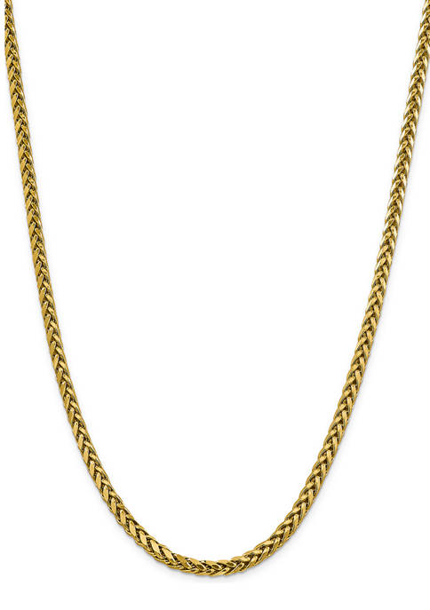 Mens 14K Yellow Gold 5 Millimeter Semi Solid Diamond Cut Wheat Chain Necklace