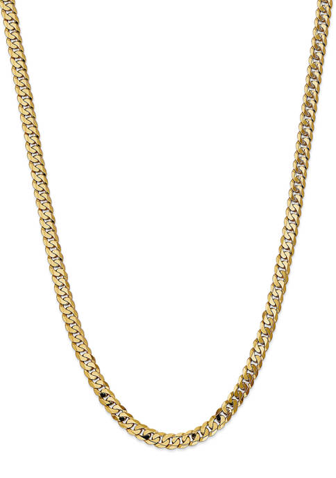 Mens 14K Yellow Gold 7.25 Millimeter Beveled Curb Chain Necklace