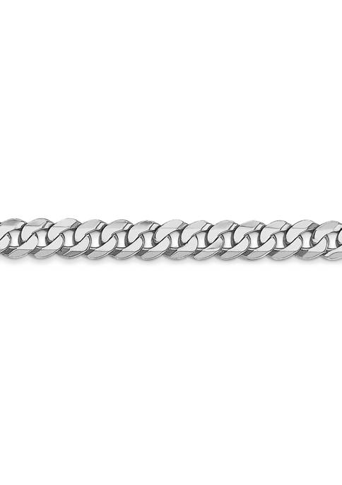 Mens 14K White Gold 4.76 Millimeter Beveled Curb Chain Necklace
