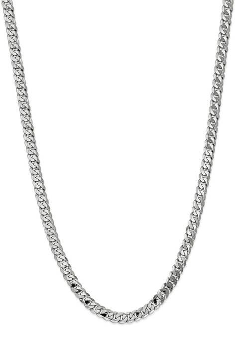 Mens 14K White Gold 7.25 Millimeter Beveled Curb Chain Bracelet