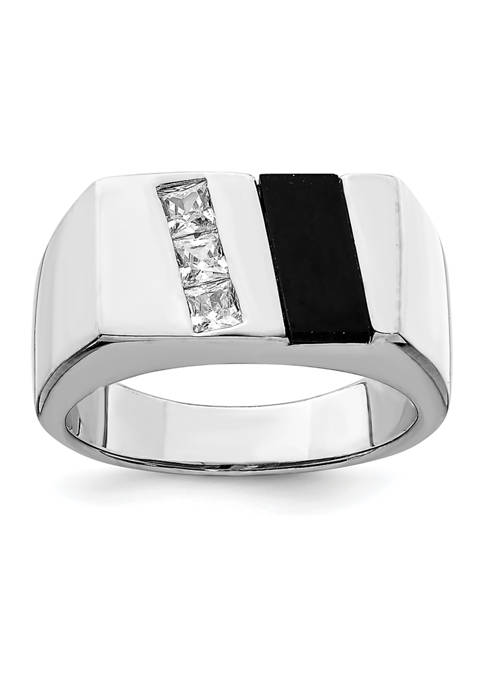 Belk & Co. Mens Sterling Silver Rhodium-Plated Cubic