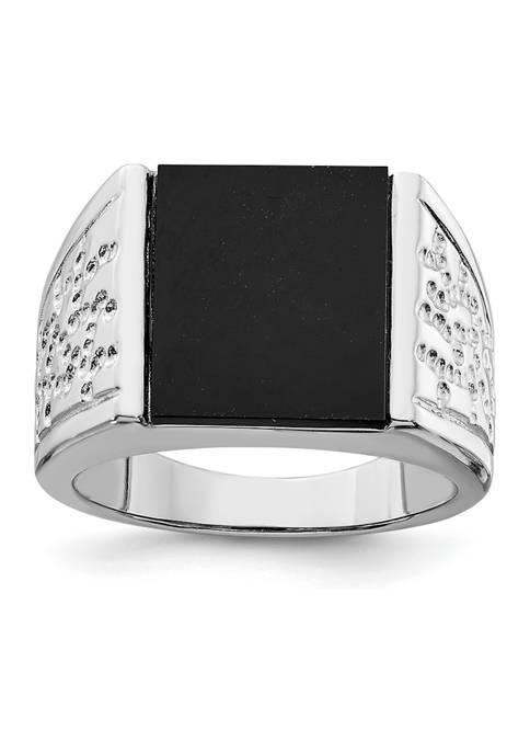 Belk & Co. Mens Sterling Silver Rhodium-Plated Onyx