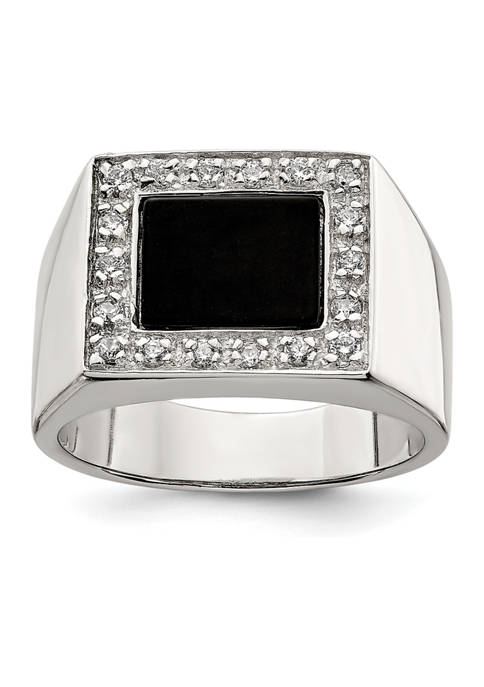 Belk & Co. Mens Sterling Silver Cubic Zirconia