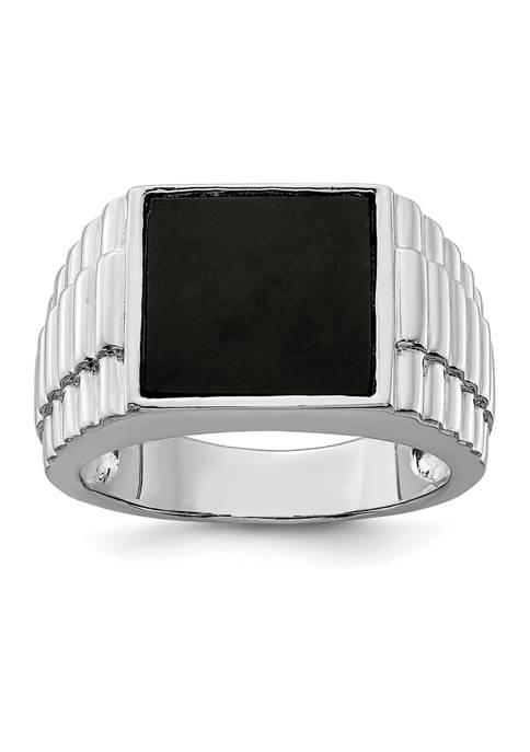Belk & Co. Mens Sterling Silver Onyx Ring