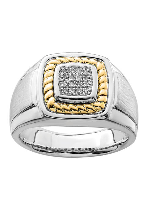 Mens 1/10 ct. t.w. Diamond Ring in Sterling Silver with 10K Yellow Gold True Two Tone