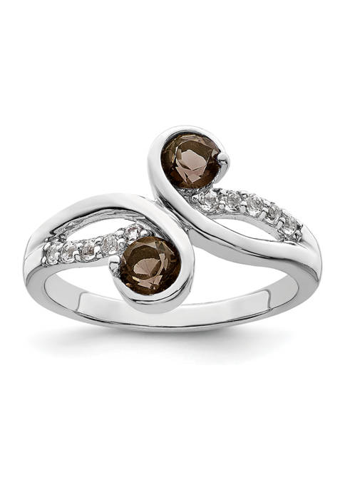5/8 ct. t.w. Smoky Quartz and White Topaz Swirl Ring in Rhodium-Plated Sterling Silver