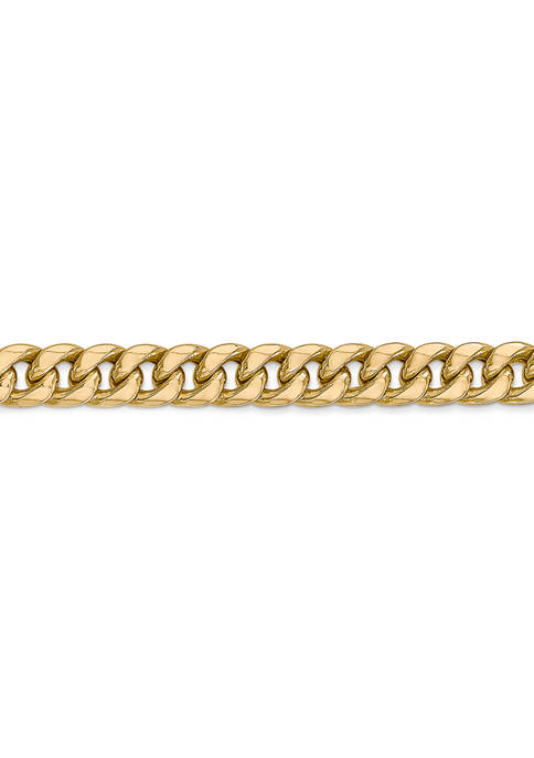 Mens 14K Yellow Gold 6 Millimeter Semi Solid Miami Cuban Chain Bracelet