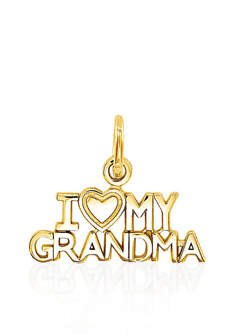 "14k Yellow Gold ""I Love My Grandma"" Charm"