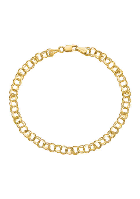 14K Yellow Gold Double Link with Hearts Charm 8 Inch Bracelet