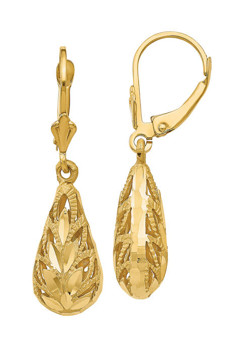 14K Yellow Gold Polished and Diamond-Cut Dangle Leverback Earrings