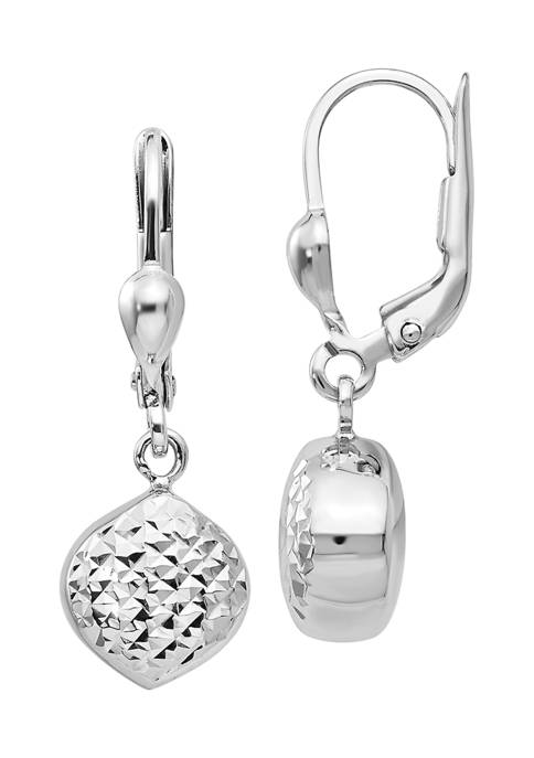 14K White Gold Polished and Diamond-Cut Dangle Leverback Earrings