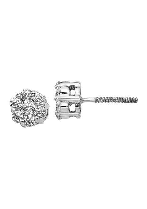 5/8 ct. t.w. Lab Grown Diamond Cluster Earrings in 14K White Gold