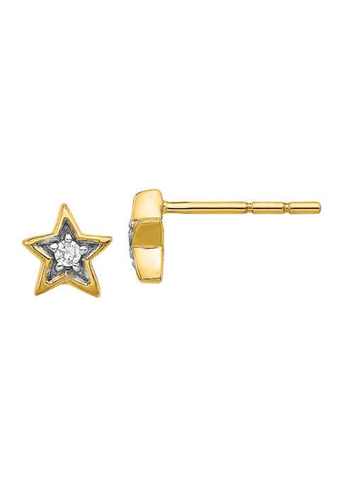 1/10 ct. t.w. Lab Grown Diamond Star Earrings in 14K Yellow Gold