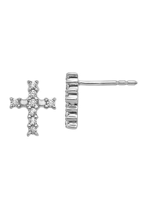 1/5 ct. t.w. Lab Grown Diamond Cross Earrings in 14K White Gold