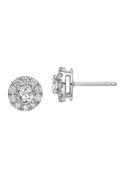 1 ct. t.w. Lab Grown Diamond Round Halo Earrings in 14K White Gold