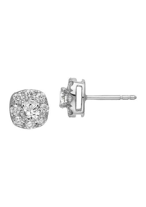 1.035 ct. t.w. Lab Grown Diamond Cushion Halo Earrings in 14K White Gold