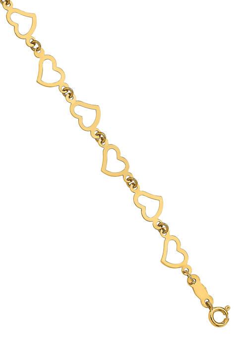 14K Yellow Gold Flat Open Hearts 7.5-Inch Bracelet