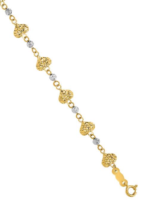 14K Two Tone Diamond Cut Heart Link 7 Inch Bracelet