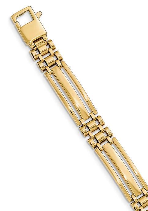 Mens 14K Yellow Gold Polished Link 8.5-Inch Bracelet
