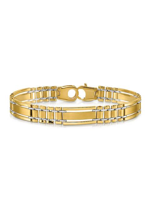 Mens 14K Two-tone Gold Polished and Satin 8.5-Inch Link Bracelet
