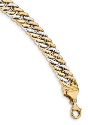 Belk Co. Mens 14K Two-Tone Gold 8-Inch Curb Link Bracelet