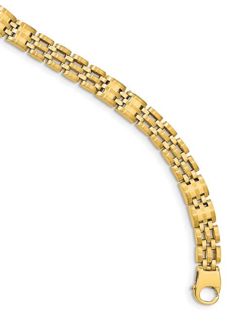 Mens 14K Yellow Gold Satin and Polished Link Bracelet
