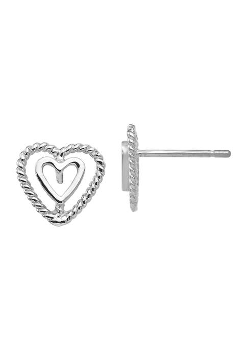 Belk & Co. 14K White Gold Heart Earrings
