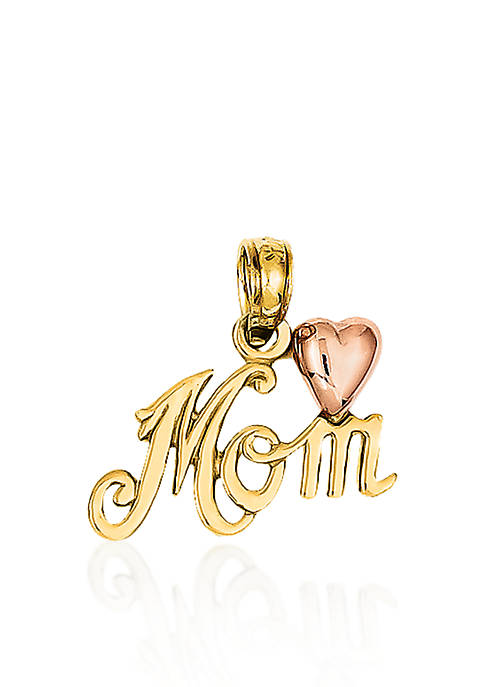 "Belk & Co. 14k Two Tone Gold ""Mom"""