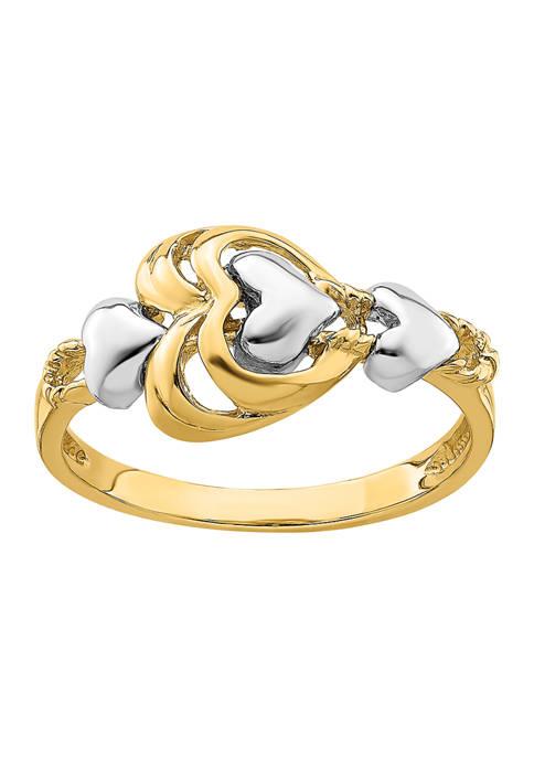 Belk & Co. 14K Two Tone Hearts Ring