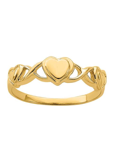 Belk & Co. 14K Yellow Gold Triple Heart