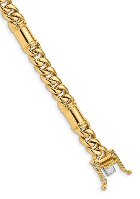 Mens 14K Yellow Gold 7.5 Millimeter Hand-Polished Fancy Link Bracelet
