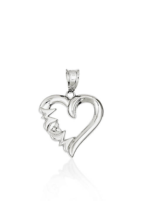 "Belk & Co. 14k White Gold ""Mom"" Heart"