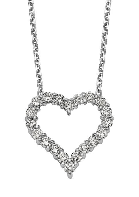 1 ct. t.w. Diamond Heart 18 Inch Necklace in 14K White Gold