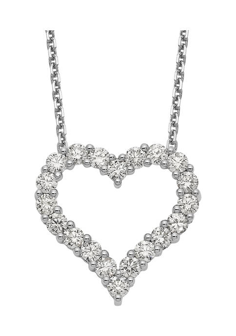 1.5 ct. t.w. Diamond Heart 18 Inch Necklace in 14K White Gold