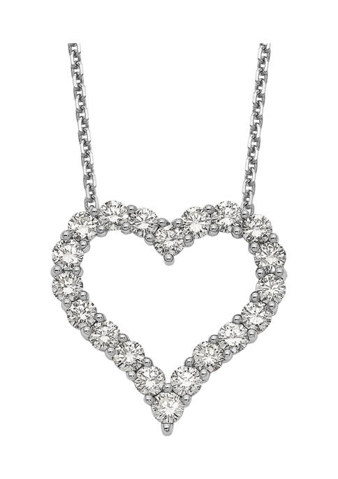 2 ct. t.w. Diamond Heart 18 Inch Necklace in 14K White Gold