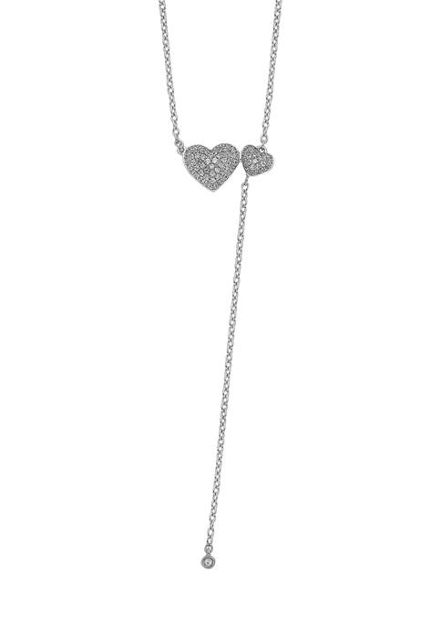 1/4 ct. t.w. Two Hearts 18 Inch Necklace in 14K White Gold