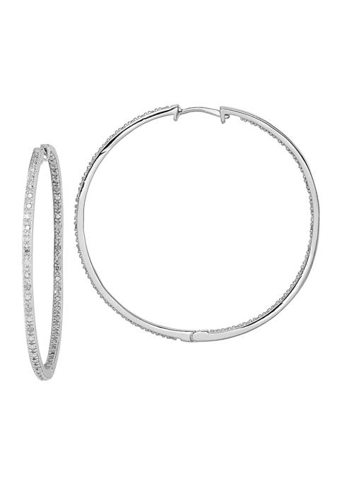 1/8 ct. t.w. Diamond In and Out Hoop Earrings in Rhodium Plated Sterling Silver