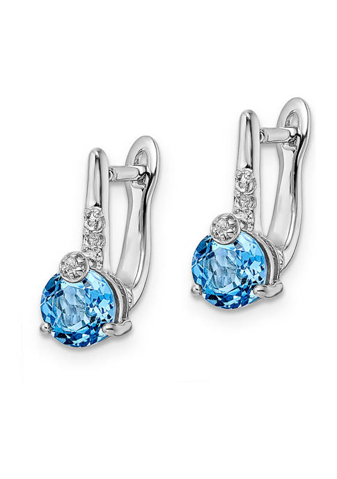 2.1 ct. t.w. Swiss Blue Topaz and White Topaz Circle Hinged Earrings in Rhodium-Plated Sterling Silver