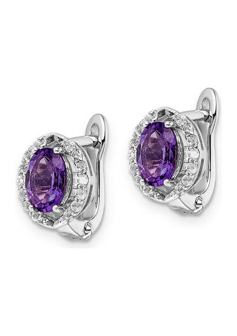 1.74 ct. t.w. Amethyst and White Topaz Oval Hinged Earrings in Rhodium-Plated Sterling Silver