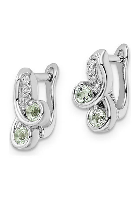 1/2 ct. t.w. Green Quartz and White Topaz Hinge Earrings in Rhodium-Plated Sterling Silver
