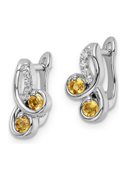 1/2 ct. t.w. Citrine and White Topaz Swirl Hinged Earrings in Rhodium-Plated Sterling Silver