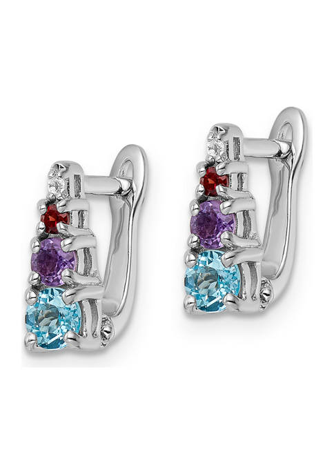 7/8 ct. t.w. Light Swiss Blue Topaz, Amethyst, Garnet and White Topaz Hinged Earrings in Rhodium-Plated Sterling Silver