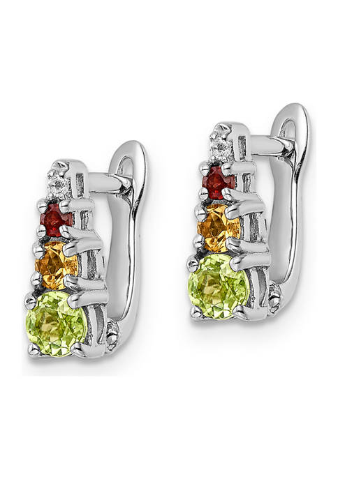 7/8 ct. t.w. Peridot, Citrine, Garnet and White Topaz Hinged Earrings in Rhodium-Plated Sterling Silver