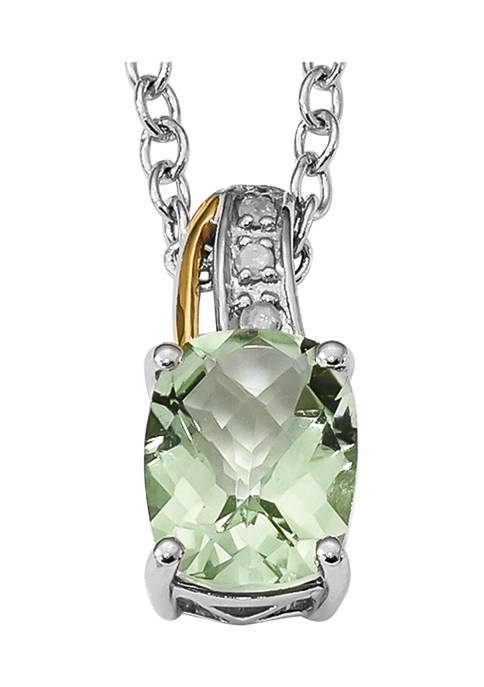 1.91 ct. t.w. Green Quartz and 1/10 ct. t.w. Diamond 17-Inch Necklace in Sterling Silver and 14K Gold Accent
