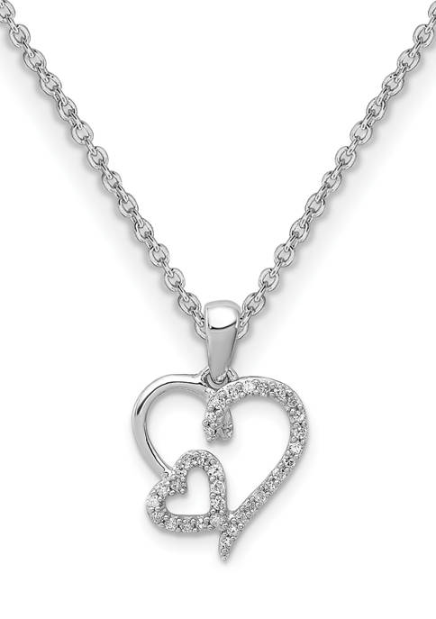 1/8 ct. t.w. Diamond Double Heart Pendant with 18 Inch Chain in Rhodium Plated Sterling Silver