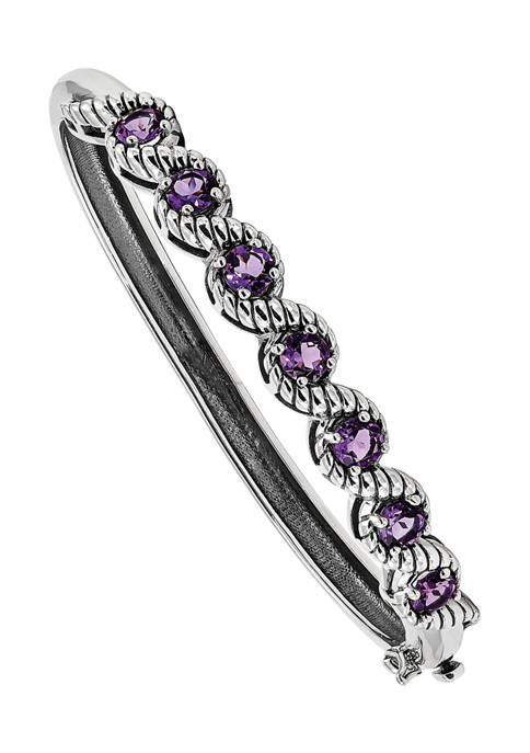 2.8 ct. t.w. Amethyst Hinged Bangle in Rhodium-Plated Sterling Silver