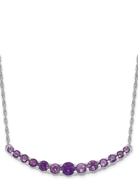 3/4 ct. t.w. Amethyst Pendant with Necklace in Rhodium-Plated Sterling Silver